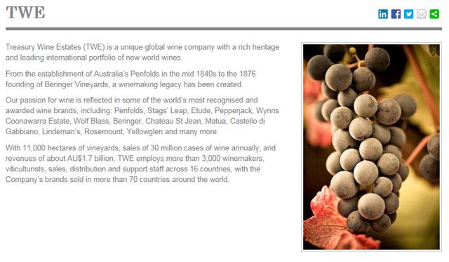 澳大利亚财富酒业集团(TWE)收购帝亚吉欧(Diageo)葡萄酒业务