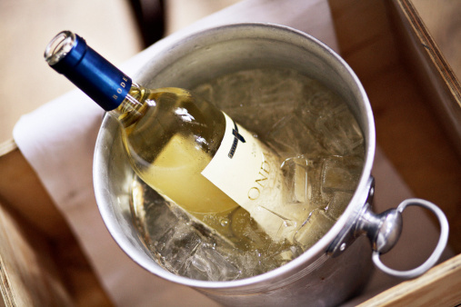 Ice bucket with white wine